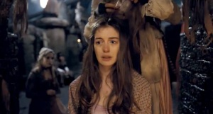 Anne Hathaway as the redeemed prostitute in Les Mis.