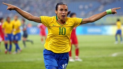 Marta, best female player in the world, shining.